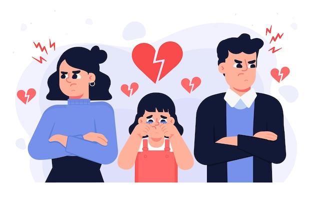 Концепция развода с плачущим ребенком и родителями