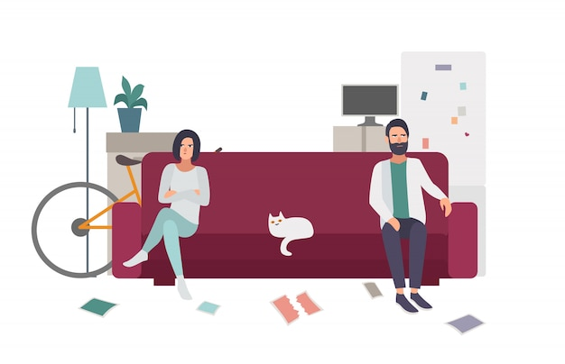 Divorce, family quarrel. couple on the couch turning away from each other. flat colorful illustration.