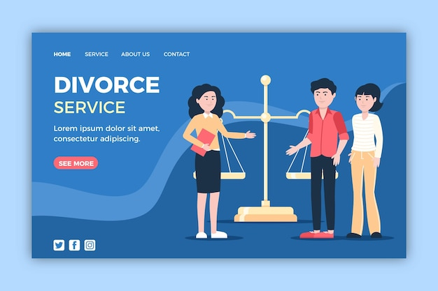 Divorce lawyer service landing page template