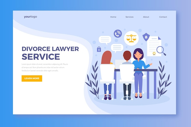 Divorce lawyer service landing page