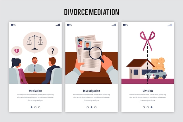 Divorce mediation onboarding screen set