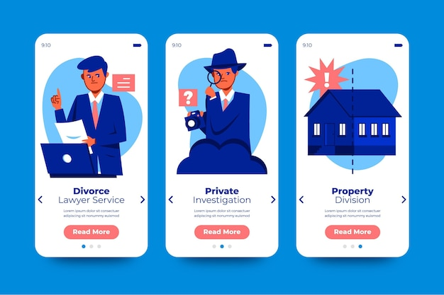Divorce mediation onboarding screens collection