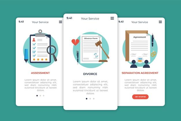 Divorce mediation onboarding screens
