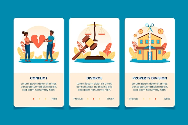 Divorce mediation onboarding screens