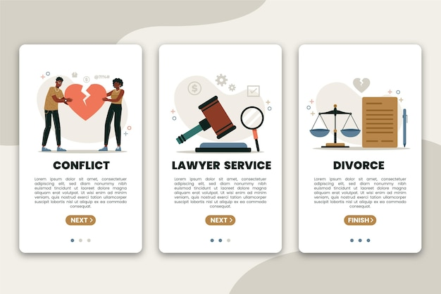 Divorce mediation - onboarding screens