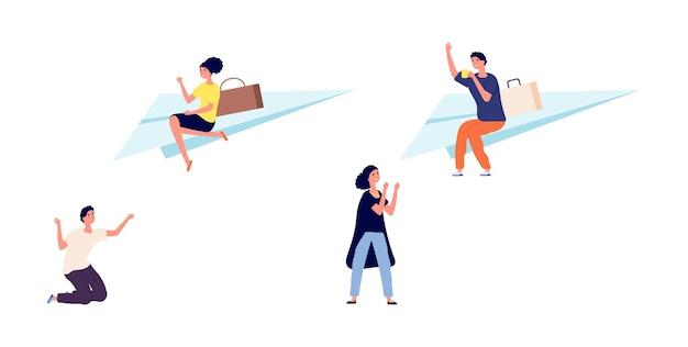 이혼 또는 별거. 여자 남자는 파트너에게서 멀어집니다. 나쁜 관계, 좌절하고 행복한 사람들. 남자는 종이 비행기 벡터 삽화를 타고 날아간다. 별거와 이혼 관계