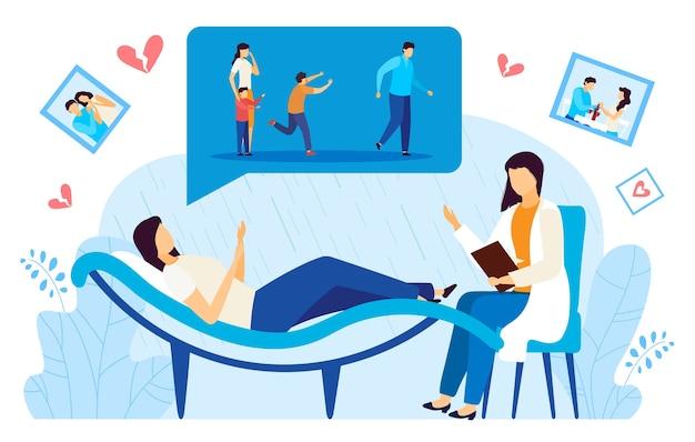 離婚心理学者相談フラットベクトルイラスト。心理療法のセッションで落ち込んでいる離婚した女性患者をコンサルティングする漫画医師のキャラクター