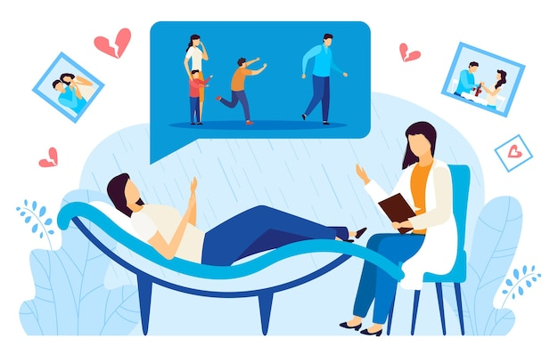Divorce psychologist consultation flat vector illustration. cartoon doctor character consulting depressed divorced woman patient on psychotherapy session