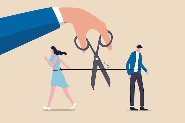 離婚した夫婦、壊れた結婚関係の終わりの概念の分離、はさみを使ってロープを切って夫婦を引き裂く手、悲しみの感情で男女を悩ませます。