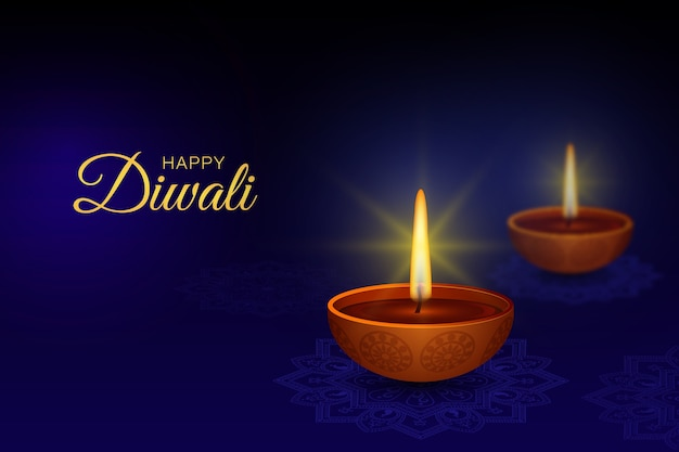 Diwali background, diya, mandala, rangoli,