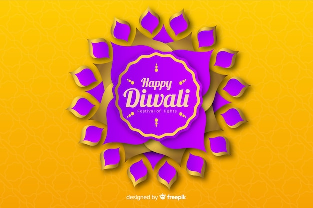 Diwali background in paper style and abstract violet flower
