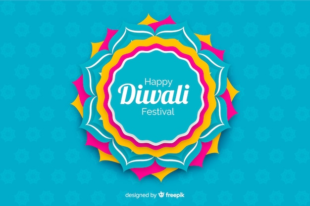 Diwali background in paper style in blue shades