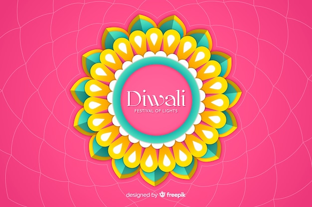Diwali background in paper style on pink background
