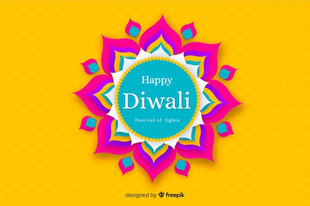 Diwali background in paper style in yellow shades