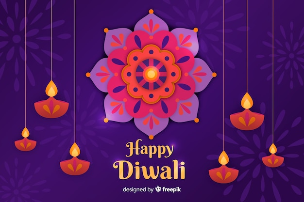 Diwali background in paper style