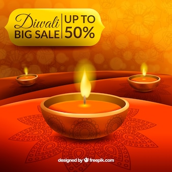 Diwali background in reddish tones