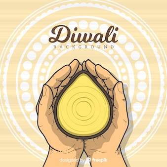 Diwali background template in hand drawn style