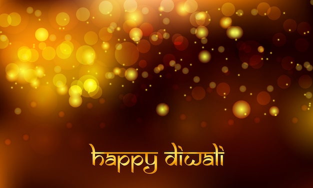 Diwali background vector with bokeh effect