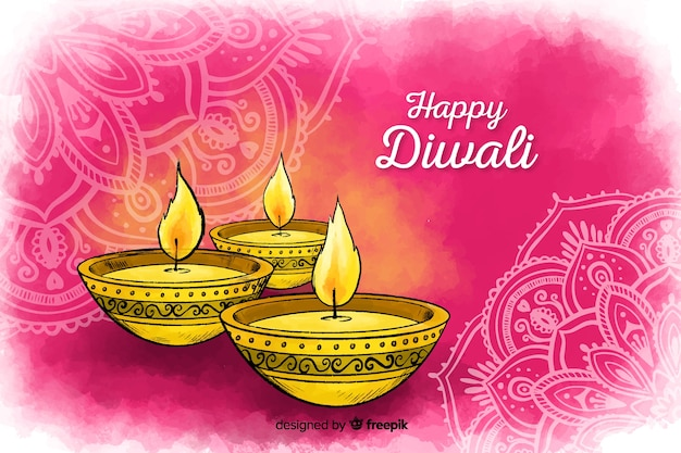 Diwali background in watercolor style