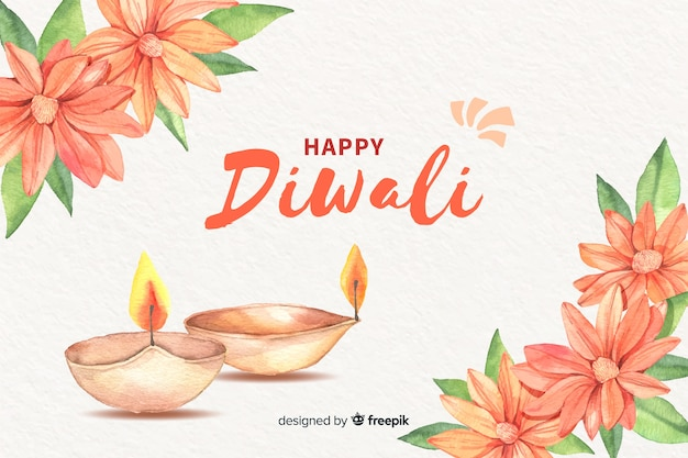 Diwali background in watercolor