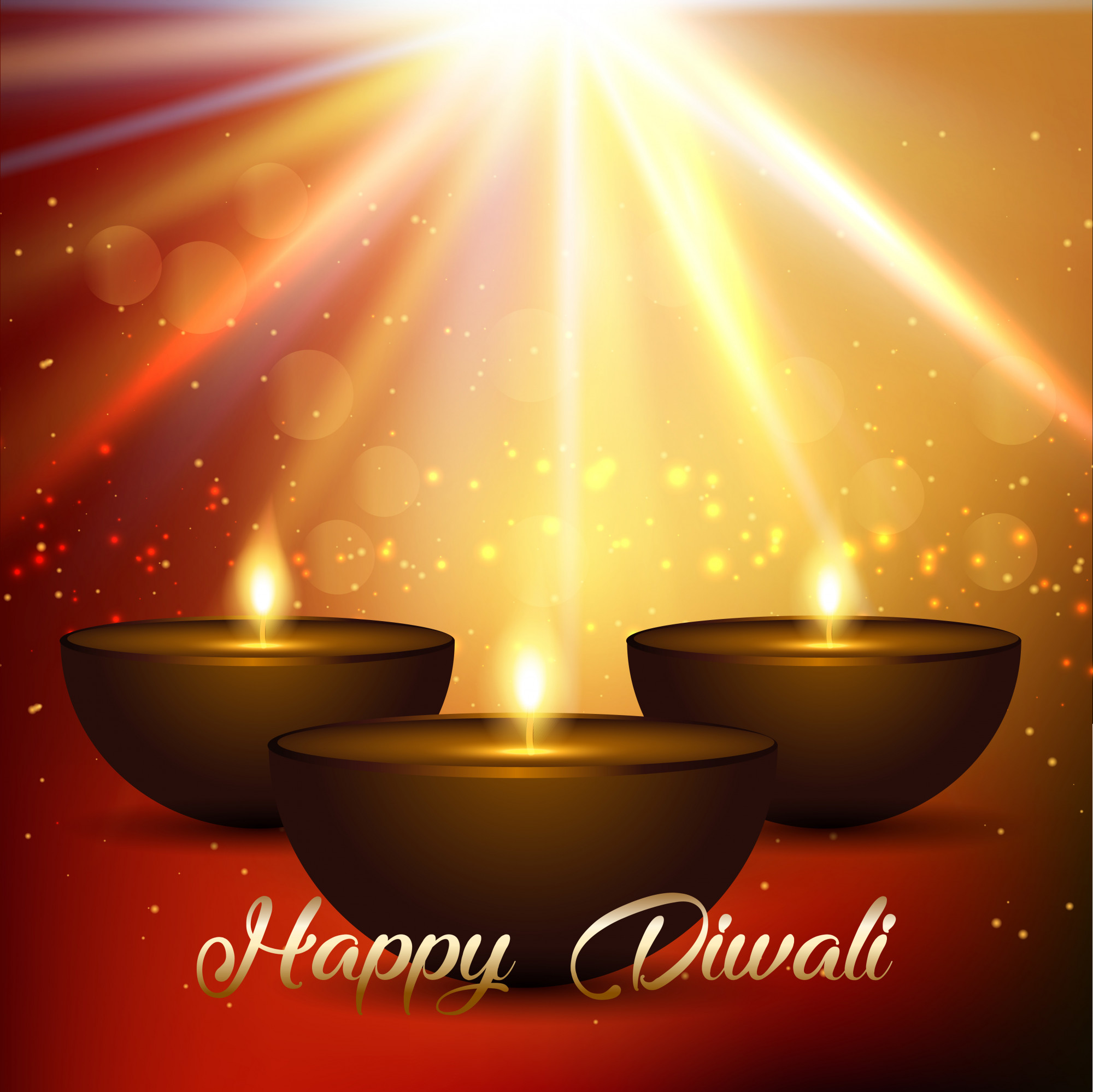 Diwali background with bokeh lights and lamps