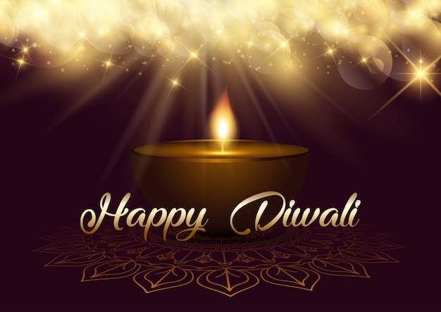 Diwali background with bokeh lights and oil lamp