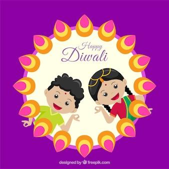 Diwali background with children greeting