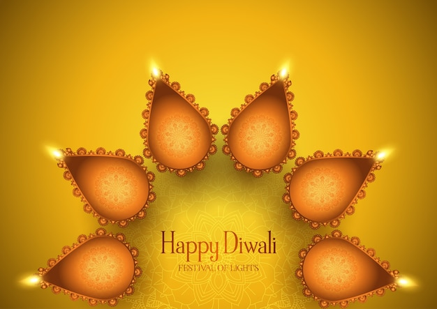 Diwali background with decorative oil lamps design