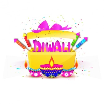 Diwali background with gift and candles