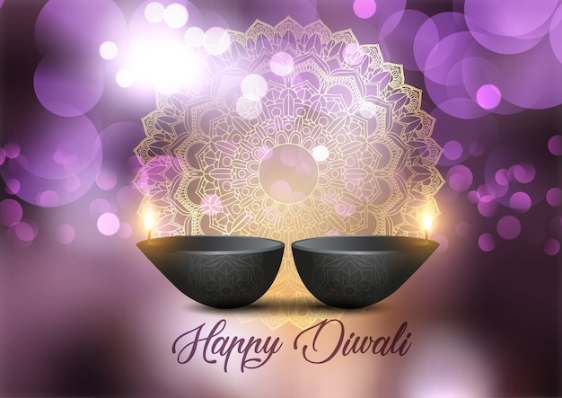 Diwali background with lamps and bokeh lights design