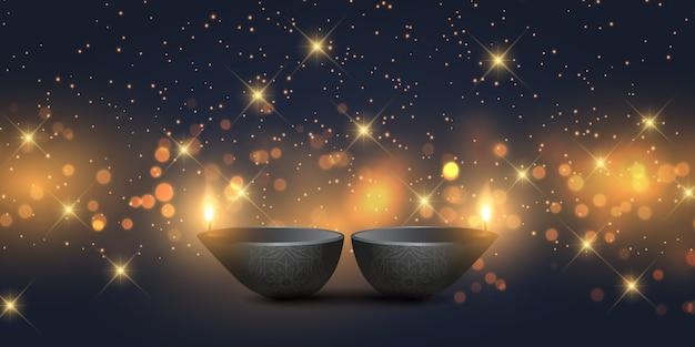Design di banner diwali con lampade a olio e luci bokeh
