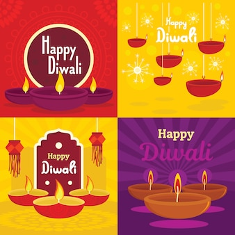 Diwali banner set. flat illustration of diwali