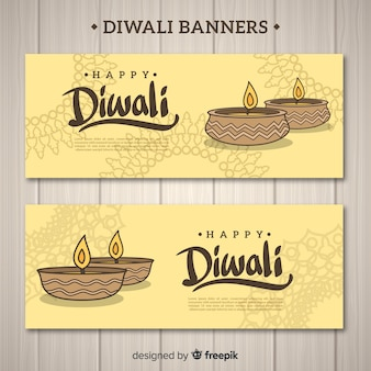 Diwali banner set with candles