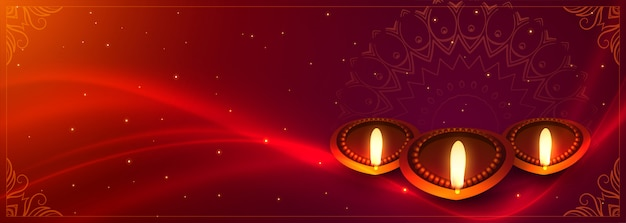 Diwali banner with diya decoration and light effect