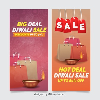 Diwali banners with sale bags