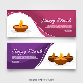 Diwali banners with waves