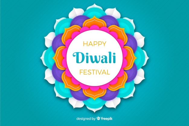 Diwali blue background in paper style