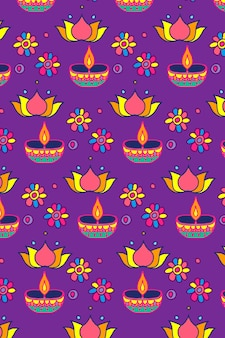 Diwali candle festival pattern vector background