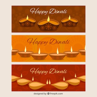 Diwali candles banner