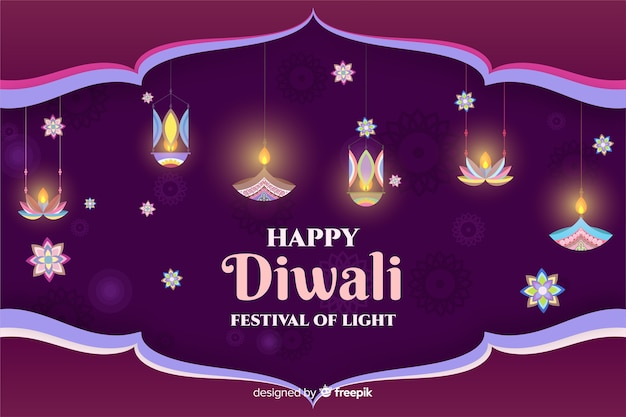 Diwali candles and flowers in flat design