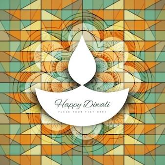 幾何学的なパターンでディワリ祭カード