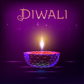 Diwali card with glowing festival oil lamp with lights.