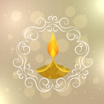 Diwali card with ornamental frame