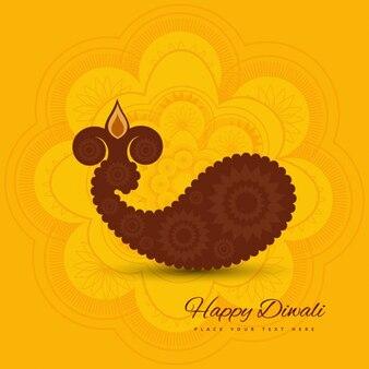 黄色の背景とディワリ祭カード