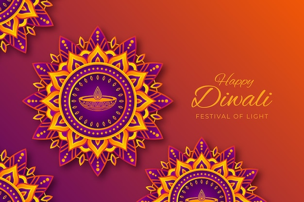 Diwali celebration in paper style