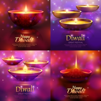 Diwali celebration template set