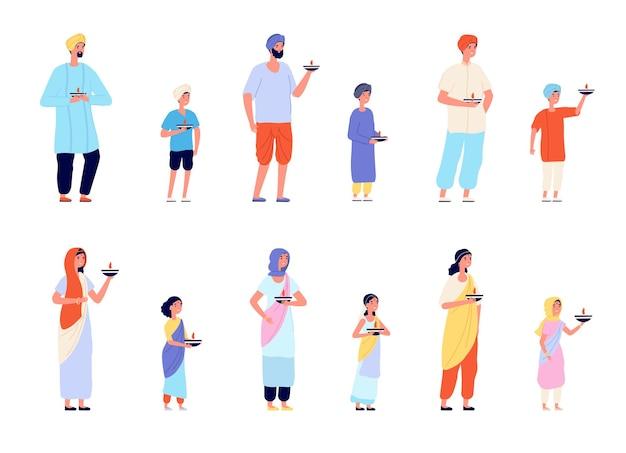 Персонажи дивали. счастливые азиатские люди, веселые молодые индийские женщины, мужчина и дети. традиционный фестиваль индии празднует набор векторных группы. иллюстрация дивали традиционный персонаж, девочка и мальчик