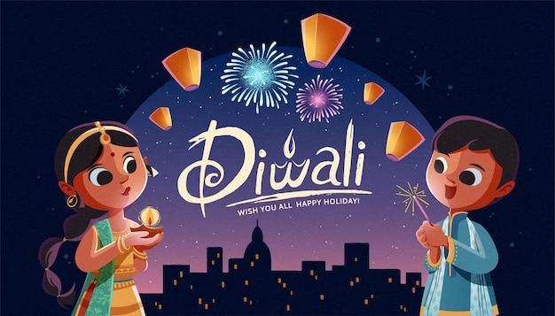 Дети дивали держат масляную лампу и бенгальский огонь с небесными фонариками на фоне ночного города