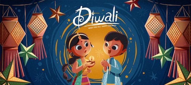 Diwali children holding oil lamp and sparkler with hanging indian lanterns in the background