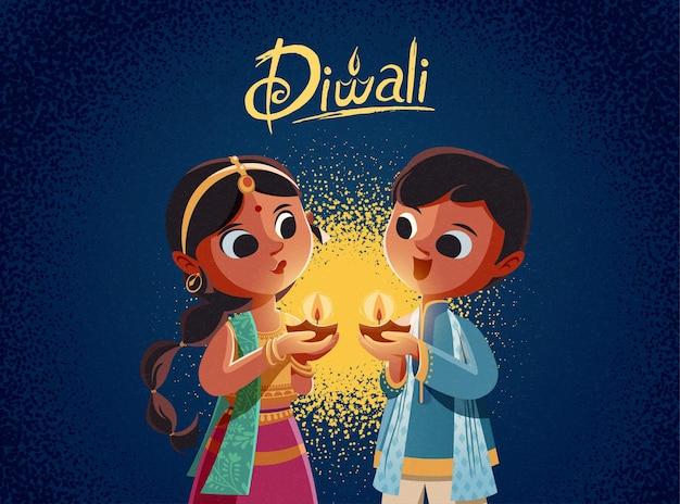 Diwali children holding oil lamps illustration on blue background